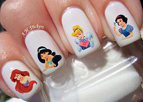 Princess Jasmine Cinderella Ariel The Litle Mermaid Disney Water Nail Art Transfers Stickers Decals - Set of 80