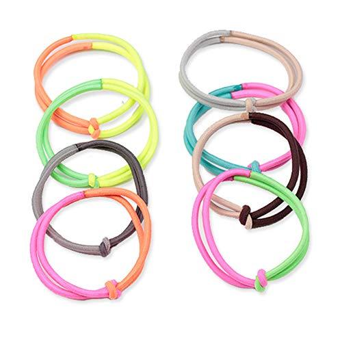 10 elastici per capelli colorati a contrasto con nodo per coda di cavallo, elastici per capelli, elastici per capelli colorati per ragazze e donne (misti)