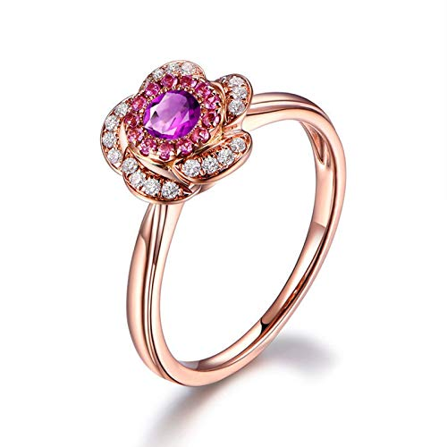 Adokiss Jewellery Women Ring Silver 925, Flower Design Purple White Round Cubic Zirconia Wedding Ring Gift for Her, Rose Gold, Size Q 1/2,Birthday Gift for Her