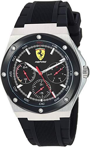 Ferrari Aspire 0830537 - Reloj de cuarzo para hombre (acero inoxidable, correa de silicona 100), color negro