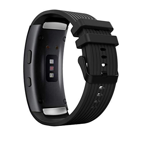 MoKo Correa de Reloj Deportiva Compatible con Samsung Gear Fit 2/Fit 2 Pro, Banda Ajustable con Rayas de Silicona para Samsung Gear Fit 2/Fit 2 Pro, Negro