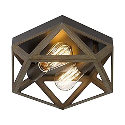 "Osimir 2-Light Industrial Ceiling Light Fixture, 12"" Flush Mount Ceiling Lighting Fixture in Dark Bronze and Wood Finish, RE9173-2"