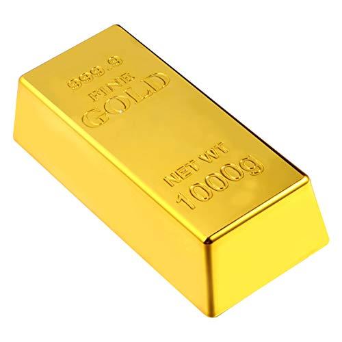 PRETYZOOM Plastik Goldbarren Glänzend Gefälschte Goldbarren Ziegel Film Prop Witz Witz Spielzeug zum Spielen Gold Party Piraten Party Schatzsuche Spiel 6X2. 8X1. 7Cm