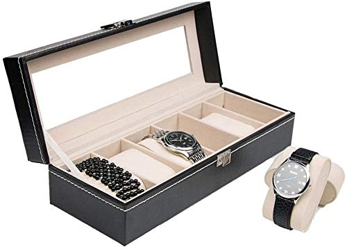 Watch Boxes Watch Box Glass Top Watch Display Case Organizer Leather 6 Watch Box For Gifts To Family (Size : 30 x 11 x7.8cm)