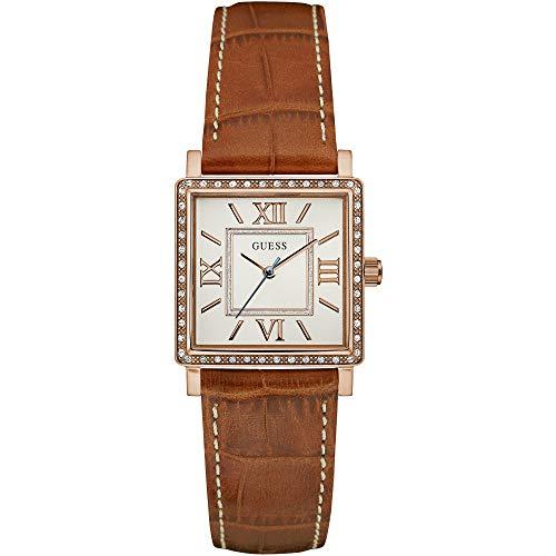 Guess Unisex Erwachsene Datum klassisch Quarz Uhr mit Leder Armband W0829L4