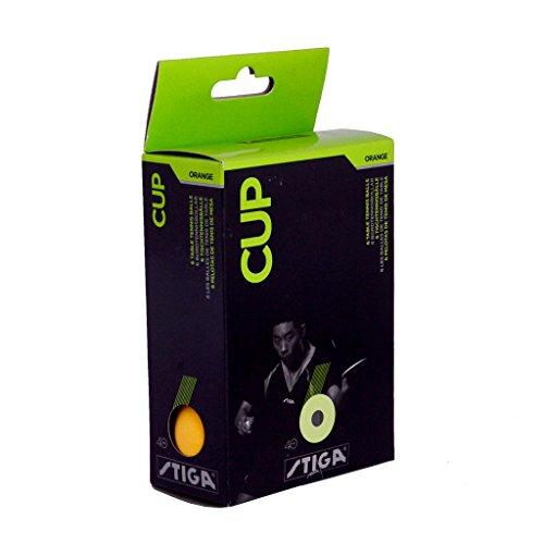 Stiga Cup 1 Star Celluloid Table Tennis Ball (Orange) - 6 Pieces