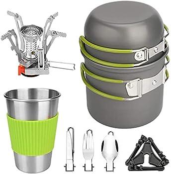 Wuudi Batterie de Cuisine de Pique-Nique en Plein air, 1-2 Personnes Camping Randonnée Sac à Dos Combinaison de casseroles Combinaison de Vaisselle Portable