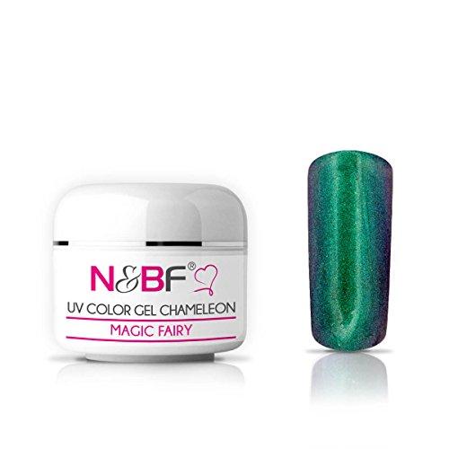 N&BF Chamäleon UV Gel 5ml dünnviskos | Farbwechsel Gel Magic Fairy | Hologramm Gel grün - blau | Made in EU | Flip Flop Colorgel | Effektgel für Gelnägel | Chameleon Colourgel