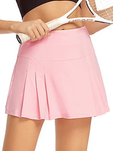 Raroauf Women's Athletic Skorts Lightweight Active Skirts with Shorts Running Tennis Golf Workout Mini Skirt with Pockets Light Pink Size S