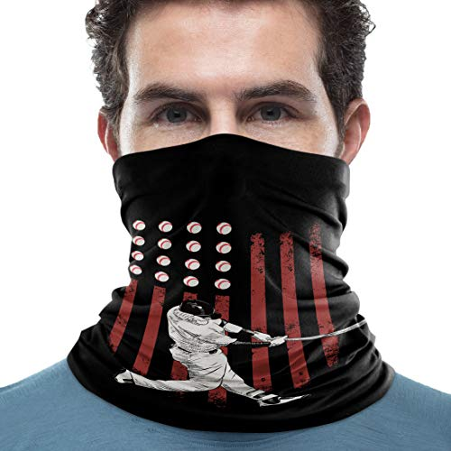 Unisex Neck Gaiter Cool Man Playing Baseball American Flag Pattern 18 x 9 inch Sun Protection Scarf Lightweight & Breathable Head Wraps Sport Neck Scarf Headbands for Running/Cycling