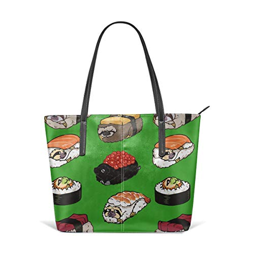Dog Cute Japanese Best Sushi Roller Men Women Leather Tote Bags Satchel Top Handle Cross Body Shoulder Hobo Handbags For Ladies Shopping Bag Office Briefcase