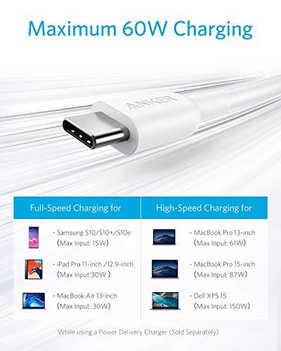Anker Powerline II USB C auf USB-C 2.0 Kabel 1,8M für USB Type C Geräte: Galaxy S8, S8+, S9,S10,Google Pixel, Nexus 6P, Huawei Matebook, MacBook und weitere,Weiß