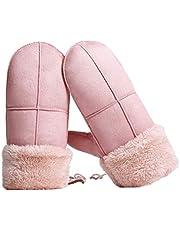 BESPORTBLE 1 par de Invierno para Niñas con Forro Polar de Piel Guantes de Pom Mitones con Regalo de Cuerda para Niños Mujeres Tamaño Libre (Rosa)