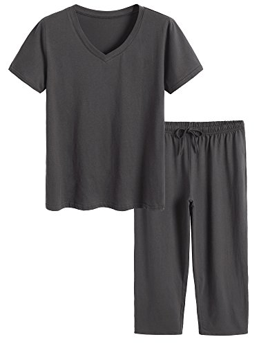 Latuza Women's Cotton Pajamas Set Tops and Capri Pants Sleepwear L Gray