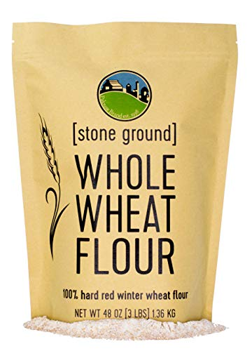 Hard Red Winter Whole Wheat Flour • Non-GMO • 3 LBS • 100% Non-Irradiated • Certified Kosher Parve • USA Grown • Field Traced • Resealable Kraft Bag