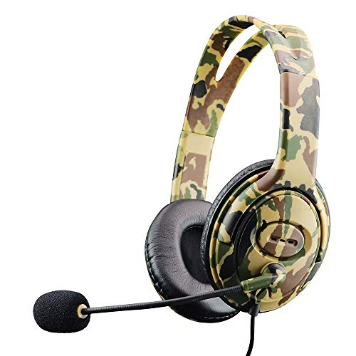 YITAQI Headset Earphone,Game for PC Mac Switch Laptop PS4 Noise Cancelling Bass Surround Head-Mounted 3.5mm Camouflage Headphone