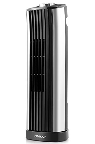 OPOLAR Mini Oscillating Tower Fan, Quiet Personal Desktop Cooling Fan, 14 Inch, Ultra-Silm, 2 Settings, Ideal for Indoor Office Home Desk Use, 120V