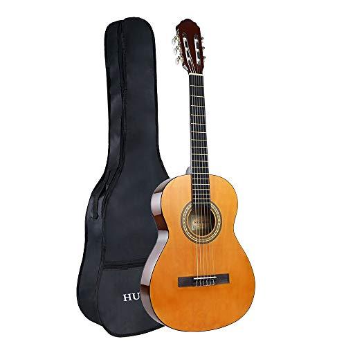 Konzertgitarre 39 Zoll Akustikgitarre, 6 Nylonsaiten Akustikgitarre für Anfänger 4/4 Volle Größe Konzertgitarre