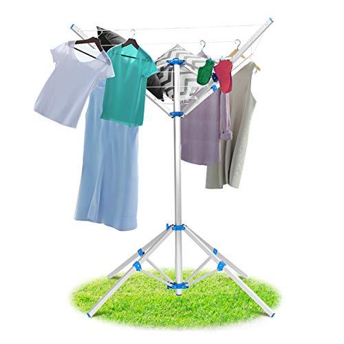 GOPLUS Wäschespinne mit Füßen, Wäscheständer Klappbar, Wäscheschirm aus Aluminium, Standtrockner für Garten