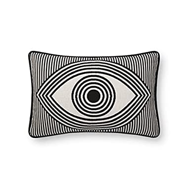 Now House by Jonathan Adler Wink Jacquard Pillow, Black and White