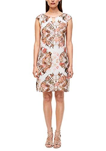 s.Oliver BLACK LABEL Damen Kleid mit Schmuck-Detail White Batik Print 40