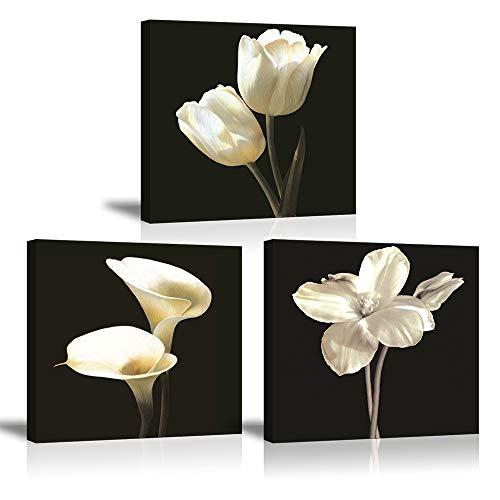 Piy Painting Bilder Leinwandbild Fotoleinwand Weiße Tulpenblume Kunstdrucke auf Leinwand Elegante Calla Lily Blumen Malerei Home Deko für Wohnzimmer Schlafzimmer Flur Wand Weihnachten 30x30cm 3set