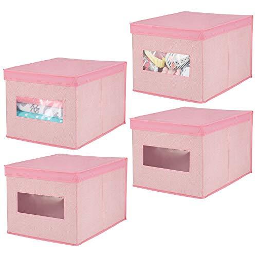 mDesign Juego de 4 cajas de tela para cambiador - Cajas con tapa de calidad en fibra sintética transpirable - Caja organizadora ideal como organizador de armarios o para accesorios de bebé - rosa