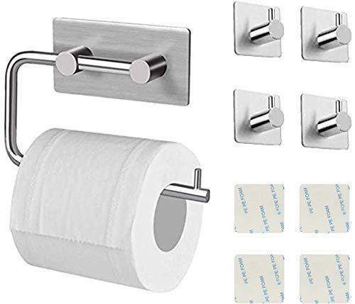 Nifogo Toilettenpapierhalter Ohne Bohren - Selbstklebend Toilettenpapierrollenhalter, Edelstahl Klopapierhalter Wc Halter Rollenhalter Klorollenhalter Papierhalter (Toilet Paper Holder+4 Haken)