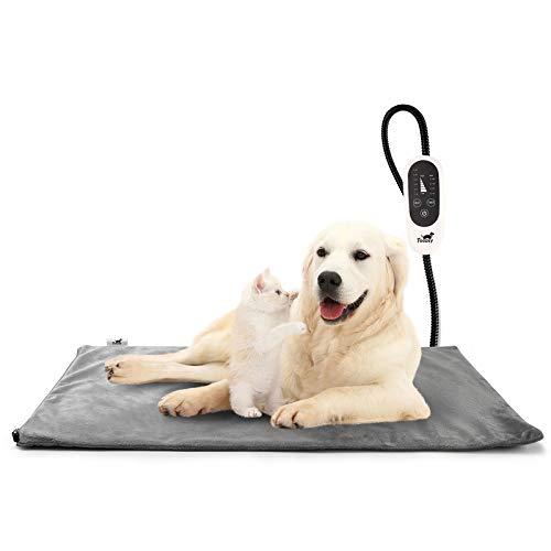 Toozey Manta Eléctrica para Perros y Gatos Interior, Ajustable Temporizador y Temperatrue Almohadilla Calefactora para Mascotas Gatos y Perros Recién Nacidos/Pequeños/Ancianos L (70 * 40cm)