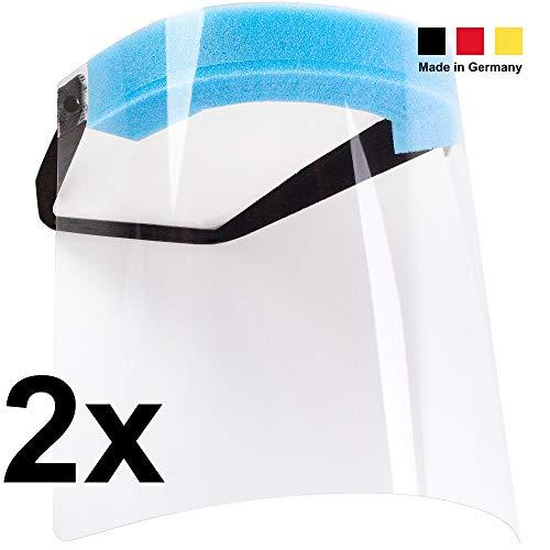 ENGOLIT EngoShield Kunststoffvisier (2er-Set), Gesichtsmaske als Spritzschutz vor Flüssigkeiten, Gesichtsschutz Made in Germany
