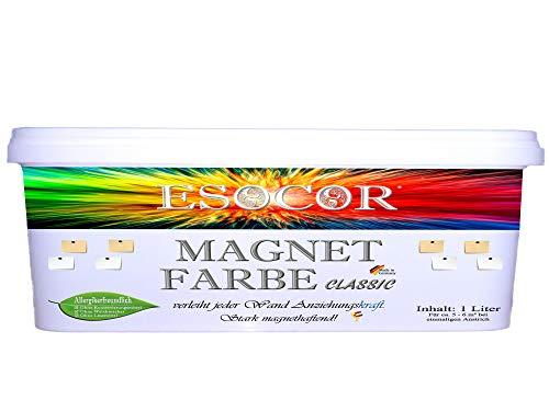 1 Liter ESOCOR MAGNETFARBE CLASSIC + 1 Pin Magnet – sehr allergikerfreundlich – stark magnethaftend – Ideal für sensible Innenräume