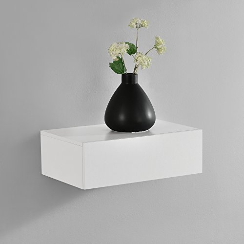 [en.casa] Mesita de Noche de Pared con un cajón - Blanco Mate - 46x30x15cm
