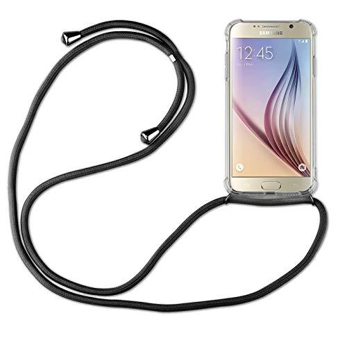 betterfon | Samsung Galaxy S6 Handykette Smartphone Halskette Hülle mit Band - Schnur mit Case zum umhängen Handyhülle mit Kordel zum Umhängen für Samsung Galaxy S6 SM-G920 Schwarz