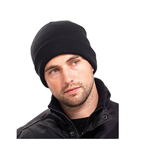 Mens Thinsulate Thermal Winter Hat Black