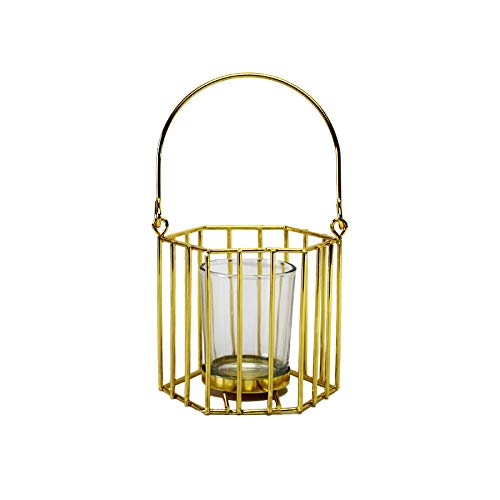 bangong Candle Holder Windproof CandleHolder Handmade Portable Geometry Metal Creative Home Decoration Basket Candlestick 402 (Color : B Gold)