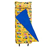 Wildkin Original Nap Mat with Pillow for Toddler Boys and Girls, Measures 50 x 20 x 1.5 Inches, Ideal for Daycare and Preschool, Mom's Choice Award Winner, BPA-Free, Olive Kids (Under Construction)
