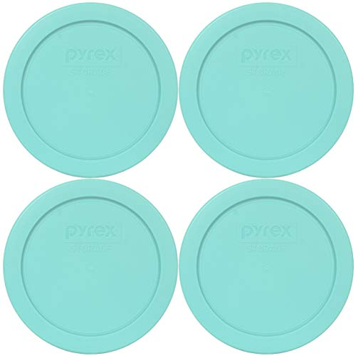 Pyrex 7200-PC Sun Bleached Turquoise Round Plastic Food Storage Replacement Lids - 4 Pack