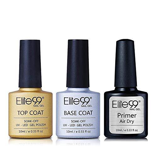 Elite99 Base Top Coat Semi Permanent Vernis à Ongles Vernis Semi Permanent UV LED Soak...
