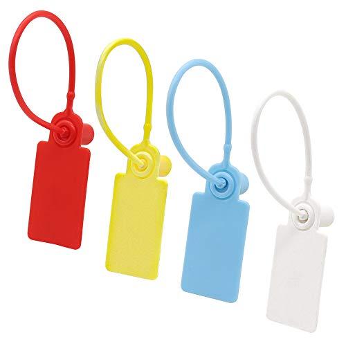 Precinto de Seguridad de Plástico, 48 Unidades 17cm Rojo/Azul/Blanco/Amarillo Sellado de Cinta Antivibraciones Antifalsificación Etiquetas de Tobillo para Maletas, Cajas, Contenedores, Bolsas