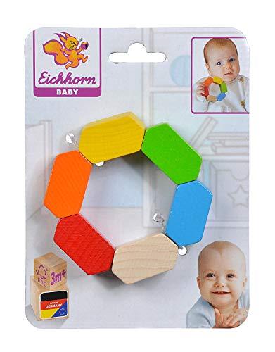 Eichhorn Sonajero Hexagonal para bebé 100017037, Juguete de Agarre geométrico para fomentar Las Habilidades motrices de Colores, de Madera de Haya certificada FSC 100 %, a Partir de 3 Meses