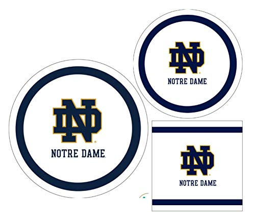 Notre Dame Fighting Irish Party Supplies - Bundle Includes Paper Plates and Napkins for 10 People