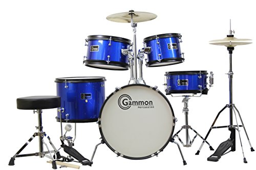 Gammon 5-Piece Junior Starter Drum Kit with Cymbals, Hardware, Sticks, & Throne - Metallic Blue