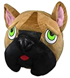 Giant French Bulldog Mask Animal Mascot Head - Frenchie Dog Costume Accessory, Brown, One Size