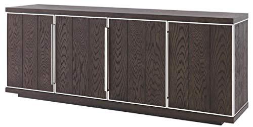 Casa Padrino Luxus Sideboard mit 4 Türen Braun/Silber 200 x 49,5 x H. 78 cm - Wohnzimmerschrank - Büroschrank - Kommode - Luxus Qualität