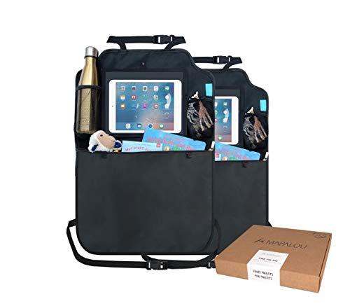 Rückenlehnenschutz Auto (2 Stück) Premium Rücksitz Organizer + Taschen & Tablet iPad Fach | Sitzschutz wasserdicht Autositzschoner Rückenlehne Kinder Schutz Rücksitzschoner Autositz Trittschutz
