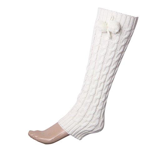 HOT!Somerl kuschelsocken strümpfe Bowknot stiefel manschetten wärmer chuzzle knit bein strümpfe socks,White