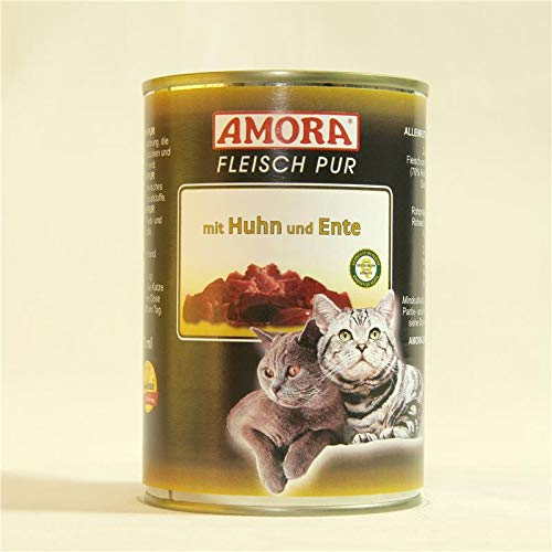Amora Cat Fleisch pur mit Huhn & Ente | 6 x 400g Katzenfutter nass
