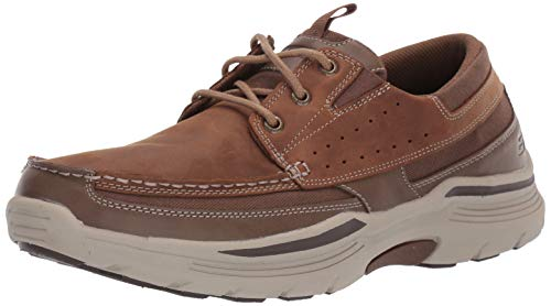 Skechers Men's EXPENDED-MENSON Leather LACE UP Boat Shoe, Desert Brown, 12 Extra Wide US