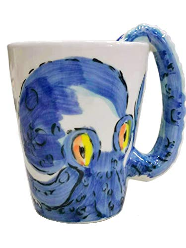 Ceramic 3D Octopus Coffee Mug with Tentacle Handle Color Blue