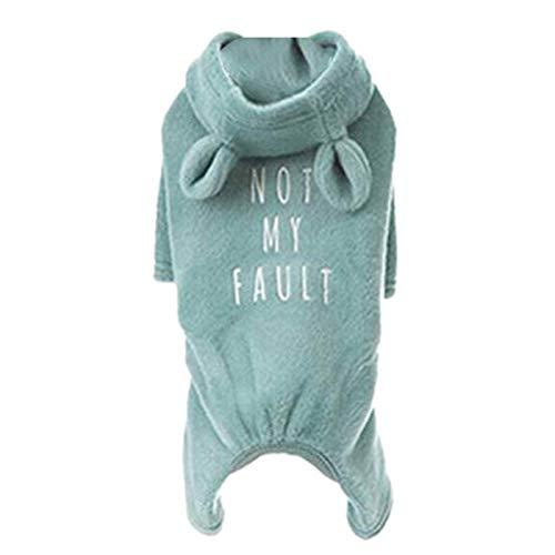 Facibom Bulldogge Custom Kleidung Blau Aus Weicher Baumwolle Hund Pyjama,Hund Overall,Hund Kaninchen Ohr Hoodies für Franz?Sische Bulldogge/Englische Bulldogge/American Pitbull Terrier XXL